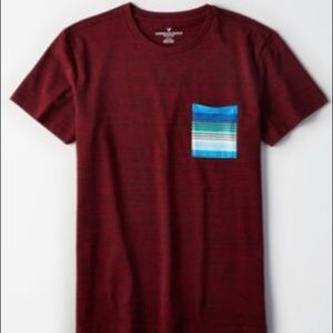 American Eagle Red Shirt with Blue/Green Pocket